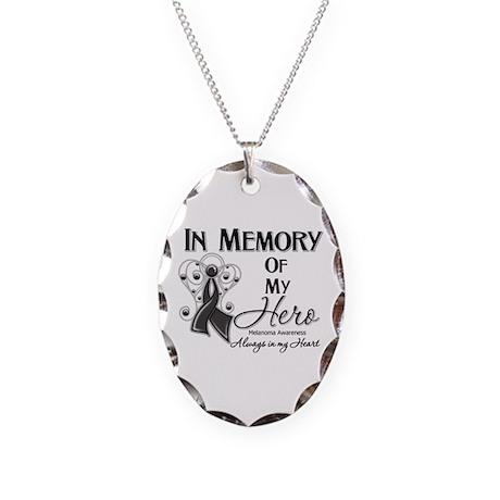 In Memory Hero Melanoma Necklace Oval Charm