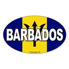 Barbados Flag Banner Oval Decal