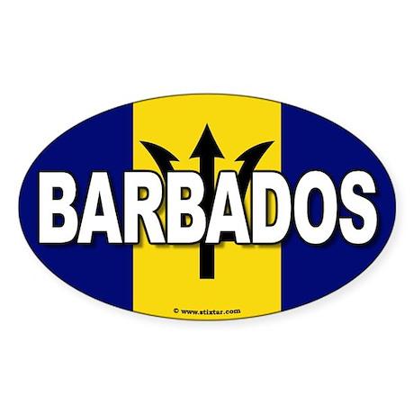 Barbados Flag Banner Oval Sticker