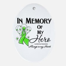In Memory Hero Lymphoma Ornament (Oval)