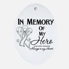 In Memory Lung Cancer Ornament (Oval)