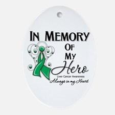 In Memory Liver Cancer Ornament (Oval)