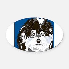 Poodle art blu.png Oval Car Magnet