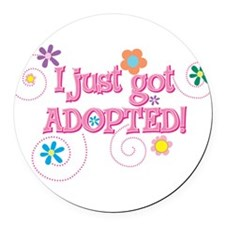 JUSTADOPTED33.png Round Car Magnet