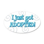 JUSTADOPTED22.png Oval Car Magnet