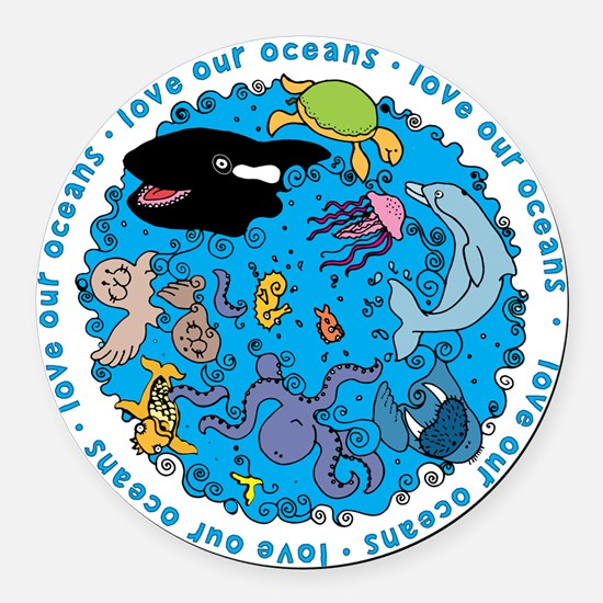 LUVROCEANS.png Round Car Magnet