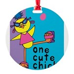 One Cute Chick.png Round Ornament