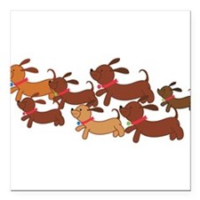 "Running Weiner Dogs.png Square Car Magnet 3"" x 3"""