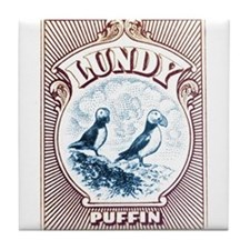 1928 Lundy Island Puffins Engraved Print Tile Coas