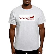 """Basset Hound """"Sleigh"""" Ash Grey T-Shirt"""