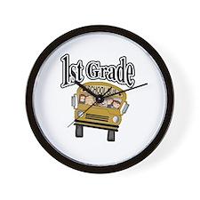 School Bus 1st Grade Wall Clock