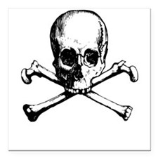 "Skull And Crossbone Square Car Magnet 3"" x 3"""