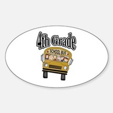 School Bus 4th Grade Oval Decal