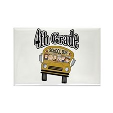School Bus 4th Grade Rectangle Magnet