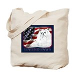 Maltese Dog Flag USA Tote Bag