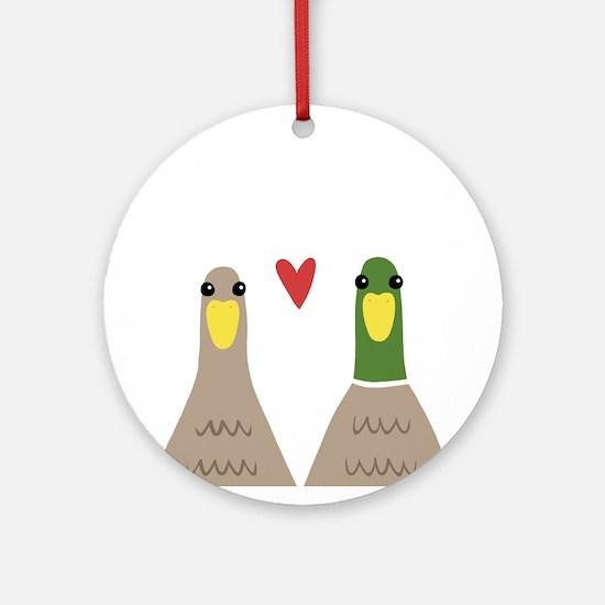 Love Ducks Round Ornament