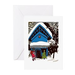 Swiss Chalet Style House Christmas Tree Greeting C