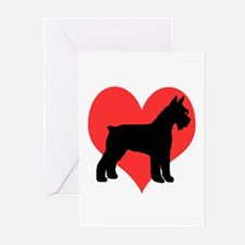 schnauzer 4 red heart 3 Greeting Cards