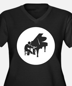 Pianist Women's Plus Size V-Neck Dark T-Shirt