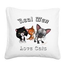 Real Men Love Cats Square Canvas Pillow