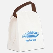 Motorboat. Add Your Text. Canvas Lunch Bag