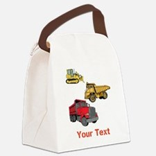 Construction Vehicles and Text. Canvas Lunch Bag
