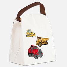 Construction Site Vehicles. Canvas Lunch Bag