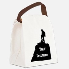 Hiking Climbing. Your Text. Canvas Lunch Bag