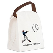 Baseball Player with Custom Text Canvas Lunch Bag