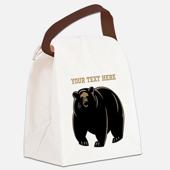 Big Bear with Custom Text. Canvas Lunch Bag
