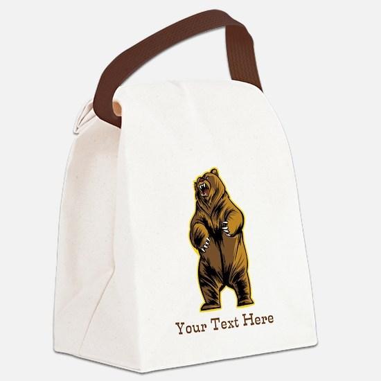 Bear. Custom Text. Canvas Lunch Bag