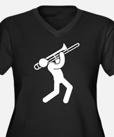 Trombone Player Women's Plus Size V-Neck Dark T-Sh