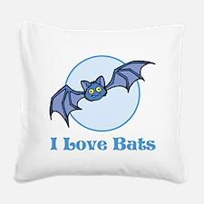 I Love Bats, Cartoon Square Canvas Pillow