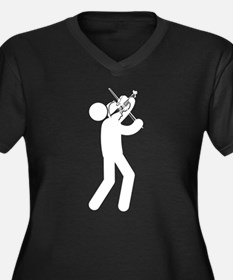 Violinist Women's Plus Size V-Neck Dark T-Shirt