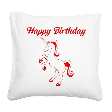 Birthday Unicorn. Red. Square Canvas Pillow