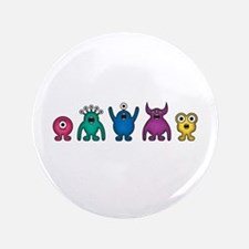 "Kawaii Rainbow Alien Monsters 3.5"" Button"