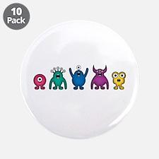 "Kawaii Rainbow Alien Monsters 3.5"" Button (10"