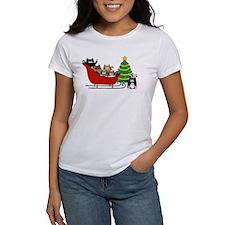 6 Kitty Cat, Sleigh Christmas Tree - Tee