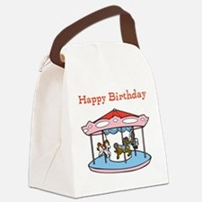 Happy Birthday. Carousel Canvas Lunch Bag