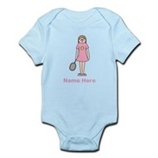 Tennis girl. Pink Text. Infant Bodysuit