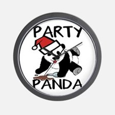Funny party panda design Wall Clock