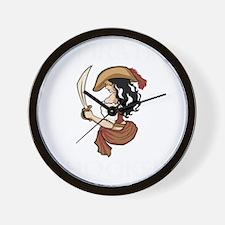 Pirate Hooker (Black) Wall Clock