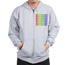 Rainbow Owl Pattern Zip Hoodie
