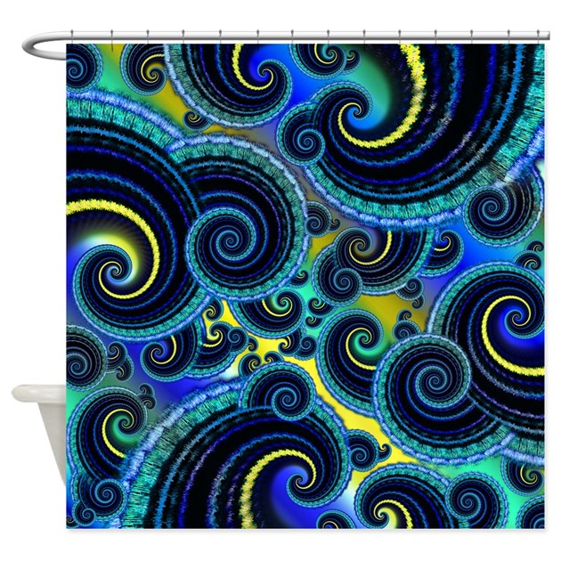 Funky Blue And Yellow Swirl Pattern Shower Curtain By