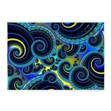 Funky Blue and Yellow Swirl Pattern 5'x7'Area Rug