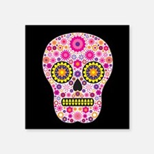 """Pink Mexican Flower Skull Square Sticker 3"""" x 3"""""""