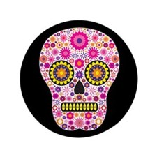"""Pink Mexican Flower Skull 3.5"""" Button"""