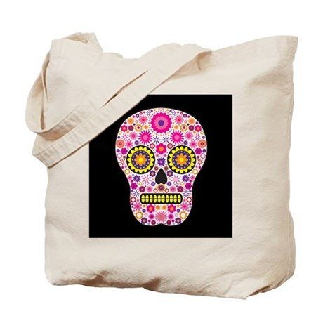 Pink Mexican Flower Skull Tote Bag