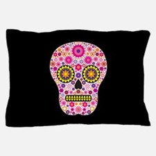 Pink Mexican Flower Skull Pillow Case