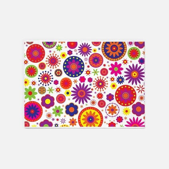 Hippie Rainbow Flower Pattern 5'x7'Area Rug